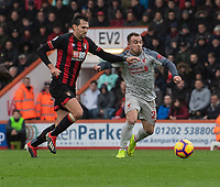 Bournemouth's Charlie Daniels battles with Liverpool's Xherdan Shaqiri (right) <br /> <br /> Photographer David Horton/CameraSport<br /> <br /> The Premier League - Bournemouth v Liverpool - Saturday 8th December 2018 - Vitality Stadium - Bournemouth<br /> <br /> World Copyright © 2018 CameraSport. All rights reserved. 43 Linden Ave. Countesthorpe. Leicester. England. LE8 5PG - Tel: +44 (0) 116 277 4147 - admin@camerasport.com - www.camerasport.com