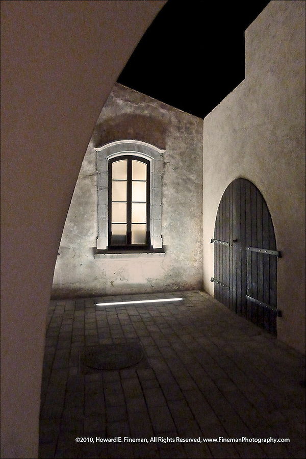 Restored Buildings at Old Jaffa Railroad Station at night