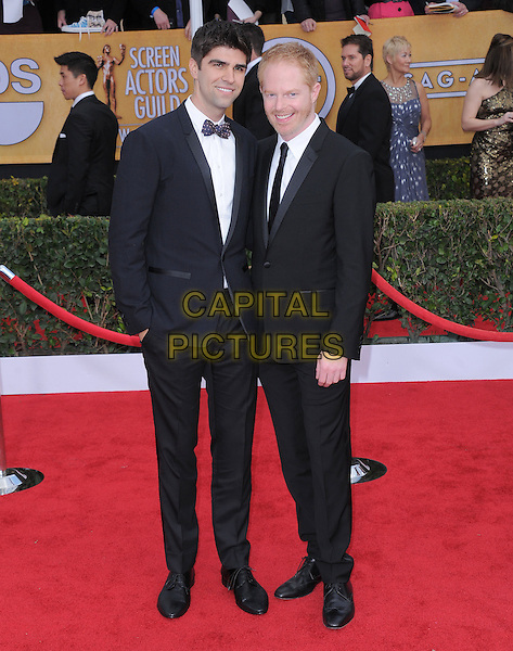 Justin Mikita, Jesse Tyler Ferguson.Arrivals at the 19th Annual Screen Actors Guild Awards at the Shrine Auditorium in Los Angeles, California, USA..27th January 2013.SAG SAGs full length black suit tuxedo beard facial hair couple .CAP/DVS.©DVS/Capital Pictures.