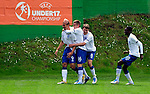 England player Hallam Hope, left, celebrate his first goal with teammates Alex Henshall, Nicholas Powell and Blair Turgott, during UEFA U-17 championship group A, France against England, Indjija, Serbia, 03.05.2011. (Photo Aleksandar Dimitrijevic/Starsportphoto.com)