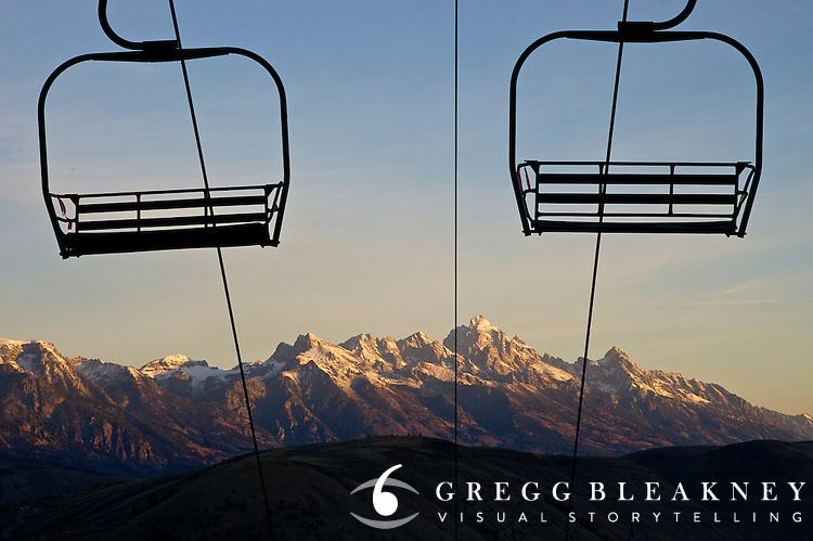 Chairlifts and Grand Teton Range - Jackson - Wyoming - USA