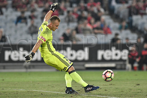 April 8th 2017, ANZ Stadium, Sydney, Australia; A-League football, Western Sydney Wanderers versus Melbourne Victory; Victory goalkeeper Lawrence Thomas takes a dead ball kick; The match  ended in a 0-0 draw;