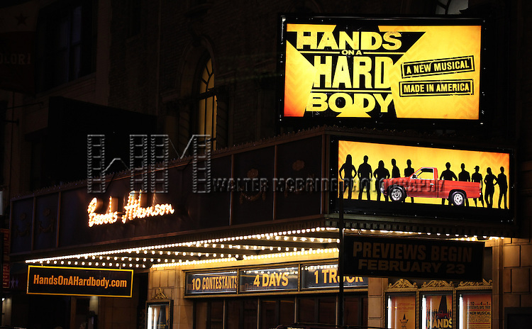 Theatre Marquee  during the 'Hands On A Hard Body' Broadway opening night Curtain Call at The Brooks Atkinson Theatre in New York City on 3/21/2013.