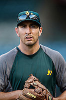 Adam Rosales #17 of the Oakland Athletics before a game against the Los Angeles Angels at Angel Stadium on September 10, 2012 in Anaheim, California. Oakland defeated Los Angeles 3-1. (Larry Goren/Four Seam Images)