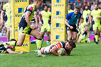 Owen Williams of Leicester Tigers scores a second half try. Aviva Premiership match, between Leicester Tigers and Sale Sharks on April 29, 2017 at Welford Road in Leicester, England. Photo by: Patrick Khachfe / JMP