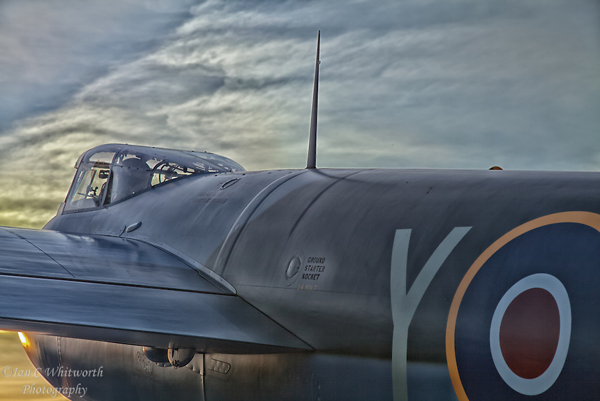 Looking across the de Havilland Mosquito at sunset from behind the wing.