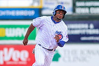 Iowa Cubs outfielder Wynton Bernard (2) rounds third base during a Pacific Coast League game against the San Antonio Missions on May 2, 2019 at Principal Park in Des Moines, Iowa. Iowa defeated San Antonio 8-6. (Brad Krause/Four Seam Images)