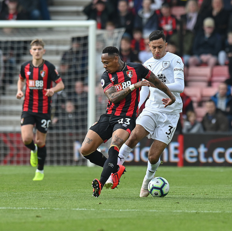 Bournemouth's Matt Worthington (left) under pressure from Burnley's Dwight McNeil (right) <br /> <br /> Photographer David Horton/CameraSport<br /> <br /> The Premier League - Bournemouth v Burnley - Saturday 6th April 2019 - Vitality Stadium - Bournemouth<br /> <br /> World Copyright © 2019 CameraSport. All rights reserved. 43 Linden Ave. Countesthorpe. Leicester. England. LE8 5PG - Tel: +44 (0) 116 277 4147 - admin@camerasport.com - www.camerasport.com