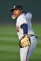 Infielder Luis Mejia (9) of the Rome Braves warms up before a game against the Greenville Drive on Saturday, April 14, 2018, at Fluor Field at the West End in Greenville, South Carolina. Rome won, 4-0. (Tom Priddy/Four Seam Images)