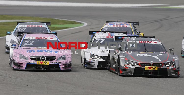 DTM 2015, 01.Lauf Hockenheimring, 01.05. - 03.05.15 <br /> Lucas Auer (AUT#22) Euronics/BWT Mercedes-AMG C-Coup&eacute;, Tom Blomqvist (SWE#31) BMW Team RBM BMW M4 DTM, Martin Tomczyk (DEU#77) BMW Team Schnitzer BMW M4 DTM <br /> <br /> <br /> <br /> Foto &copy; nordphoto /  Bratic