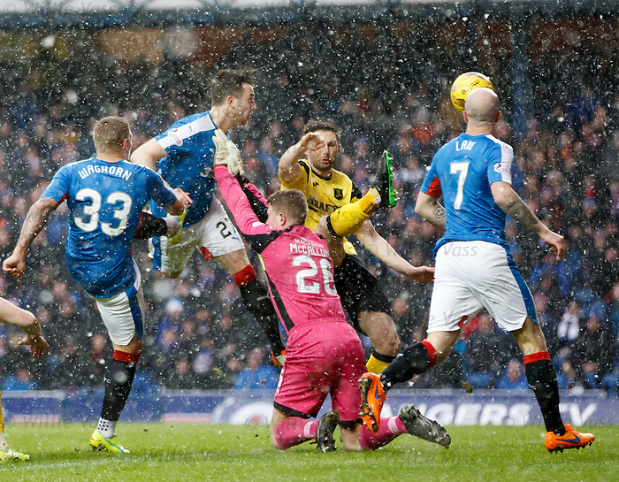 Danny WIlson heads in the opening goal for Rangers