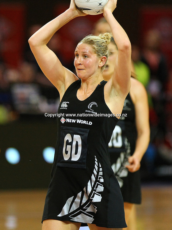 New Zealand's Casey Kopua against Australia in the New World Netball Series match, SIT Zero Fees velodrome, Invercargill, New Zealand, Sunday, September 15, 2013. Credit:NINZ / Dianne Manson.
