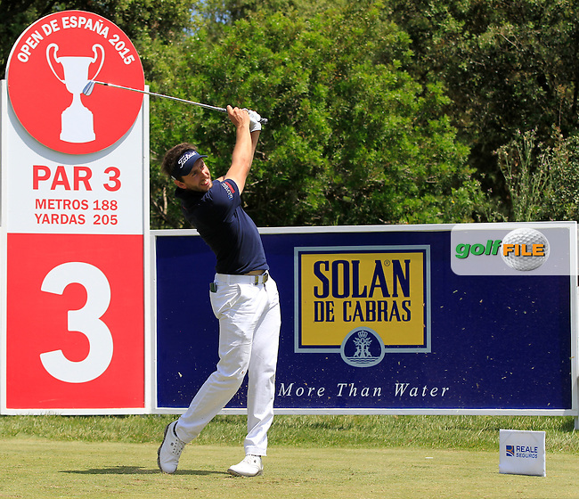 Edouard Espana (FRA) on the 3rd tee during Round 3 of the Open de Espana  in Club de Golf el Prat, Barcelona on Saturday 16th May 2015.<br /> Picture:  Thos Caffrey / www.golffile.ie