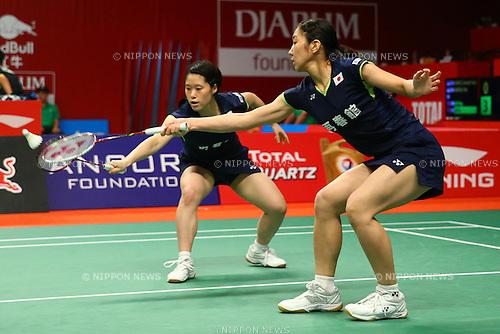 Naoko FukumanKurumi Yonao (JPN), AUGUST 12, 2015 - Badminton : TOTAL BWF World Championships 2015 Women's Doubles 2nd round match at Istora Senayan Arena, Jakarta, Indonesia. (Photo by Shingo Ito/AFLO SPORT)