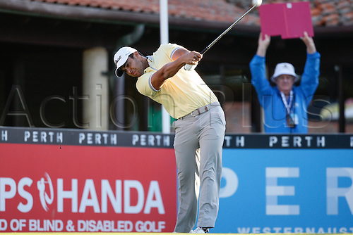 25.02.2016. Perth, Australia. ISPS HANDA Perth International Golf. Dimitrios Papadatos (AUS) hits his first shot for the tournament on tee 1 day 1.