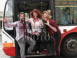 Zombies Antoinette O'Hagan, Trevor Murphy and Aine Boshell get the bus at the launch of the Zombie Walk on West Street. Photo:Colin Bell/pressphotos.ie