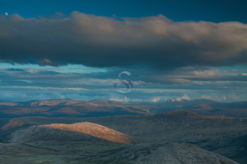 The Cairngorms from Derry Cairngorm at dusk, Cairngorms National Park, Aberdeenshire