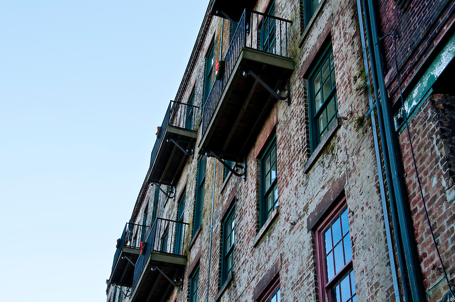 View of old wall and balconies in Savannah, Georgia.