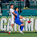 26 October 2019: University of Vermont Catamount Defender Adrian Gahabka, a Senior from Passau, Germany, in second half action against the University of Massachusetts Lowell River Hawks at Virtue Field in Burlington, Vermont. The Catamounts rallied to defeat the River Hawks 2-1, propelling the Cats to the America East Division 1 conference playoffs. Mandatory Credit: Ed Wolfstein Photo *** RAW (NEF) Image File Available ***