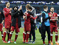 Liverpool manager Jurgen Klopp celebrates with Alex Oxlade-Chamberlain and the rest of his players at the final whistle<br /> <br /> Photographer Rich Linley/CameraSport<br /> <br /> UEFA Champions League Quarter-Final Second Leg - Manchester City v Liverpool - Tuesday 10th April 2018 - The Etihad - Manchester<br />  <br /> World Copyright &copy; 2017 CameraSport. All rights reserved. 43 Linden Ave. Countesthorpe. Leicester. England. LE8 5PG - Tel: +44 (0) 116 277 4147 - admin@camerasport.com - www.camerasport.com