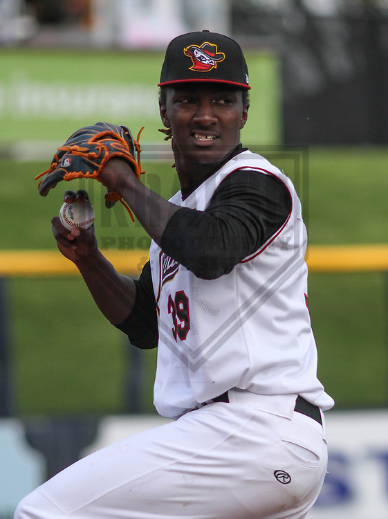 DAVENPORT - May 2015: Quad Cities River Bandits pitcher Akeem Bostick (39) during a Midwest League game against the Wisconsin Timber Rattlers on May 8th, 2015 at Modern Woodmen Park in Davenport, Iowa.  Quad Cities defeated Wisconsin 11-6.  (Brad Krause/Krause Sports Photography)
