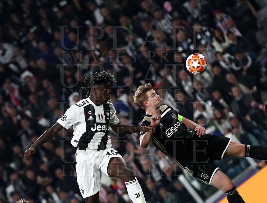 Football Soccer: UEFA Champions UEFA Champions League quarter final second leg Juventus - Ajax, Allianz Stadium, Turin, Italy, March 12, 2019. <br /> Juventus' Moise Kean (l) in action with Ajax's captain Matthijs de Ligt (r) during the Uefa Champions League football match between Juventus and Ajax  at the Allianz Stadium, on March 12, 2019.<br /> UPDATE IMAGES PRESS/Isabella Bonotto