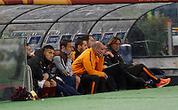 Calcio, Europa League: Ritorno degli ottavi di finale Roma vs Fiorentina. Roma, stadio Olimpico, 19 marzo 2015.<br /> Roma's Francesco Totti, center, sits on the bench during the Europa League round of 16 second leg football match between Roma and Fiorentina at Rome's Olympic stadium, 19 March 2015.<br /> UPDATE IMAGES PRESS/Isabella Bonotto