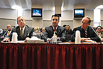 Former Nevada Govs. Robert List, left, and Richard Bryan, right, join Gov. Brian Sandoval in urging lawmakers to support Sandoval's plan to overhal the state's business license fee system, during a hearing at the Legislative Building in Carson City, Nev., on Wednesday, March 18, 2015.  <br /> Photo by Cathleen Allison