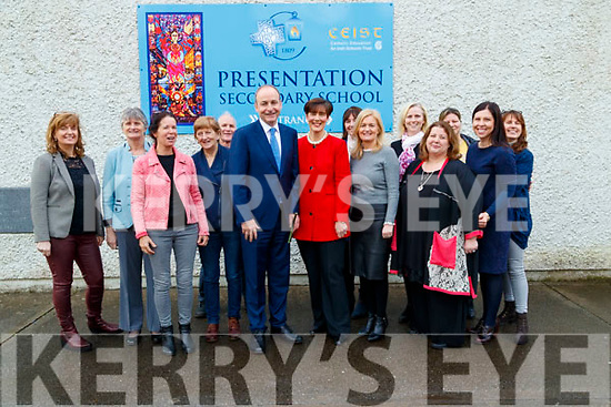 Michael Martin visiting Presentation Secondary school in Tralee on Monday.