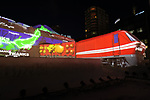 February 4, 2019, Sapporo, Japan - A projection mapping is cast on a large snow sculpture of Japan Railway's (JR) cargo train Red Bear at the 70th annual Sapporo Snow Festival in Sapporo in Japan's nortern island of Hokkaido on Monday, February 4, 2019. The week-long snow festival started at the Odori Park in central Sapporo through February 11 and over 2.5 million people are expecting to visit the festival.   (Photo by Yoshio Tsunoda/AFLO) LWX -ytd-