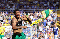 Onel Hernandez of Norwich City celebrates getting the first Norwich goal during Birmingham City vs Norwich City, Sky Bet EFL Championship Football at St Andrews on 4th August 2018