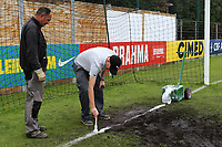 Groundstaff paint the white lines in the goal ahead of kick-off during Guatemala Under-23 vs England Under-20, Tournoi Maurice Revello Football at Stade Marcel Cerdan on 11th June 2019