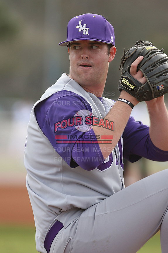 James Madison University pitcher Sean Tierney #29 before a game against the Coastal Carolina Chanticleers at Watson Stadium at Vrooman Field on February 17, 2012 in Conway, SC.  Coastal Carolina defeated James Madison 7-1.  (Robert Gurganus/Four Seam Images)