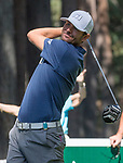 Mardy Fish hits a tee shot on the fourth hole during the American Century Championship at Edgewood Tahoe Golf Course in Stateline, Nevada, Saturday, July 14, 2018.