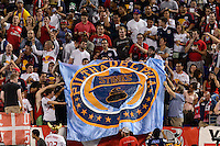 New York Red Bulls fans raise a banner. The New York Red Bulls and the Philadelphia Union played to a 0-0 tie during a Major League Soccer (MLS) match at Red Bull Arena in Harrison, NJ, on August 17, 2013.