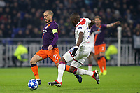 David Silva of Manchester City bursts through the Lyon defence during Lyon vs Manchester City, UEFA Champions League Football at Groupama Stadium on 27th November 2018