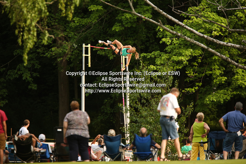 USA's Linda Hadfield tried to go up and over on the pole vault. The New York Invite Series was hosted at White Birch Golf Course in Lyndonville, New York on May 31, 2013