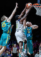 July 14, 2016: KADEEM ALLEN (5) of the Arizona Wildcats goes to the basket during game 2 of the Australian Boomers Farewell Series between the Australian Boomers and the American PAC-12 All-Stars at Hisense Arena in Melbourne, Australia. Sydney Low/AsteriskImages.com