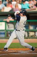 Charlotte left fielder Casey Rogowski (45) follows through on his swing versus Louisville at Louisville Slugger Field in Louisville, KY, Tuesday, June 5, 2007.