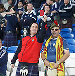 Angry Scotland fans at the end showing the red card to Craig Levein