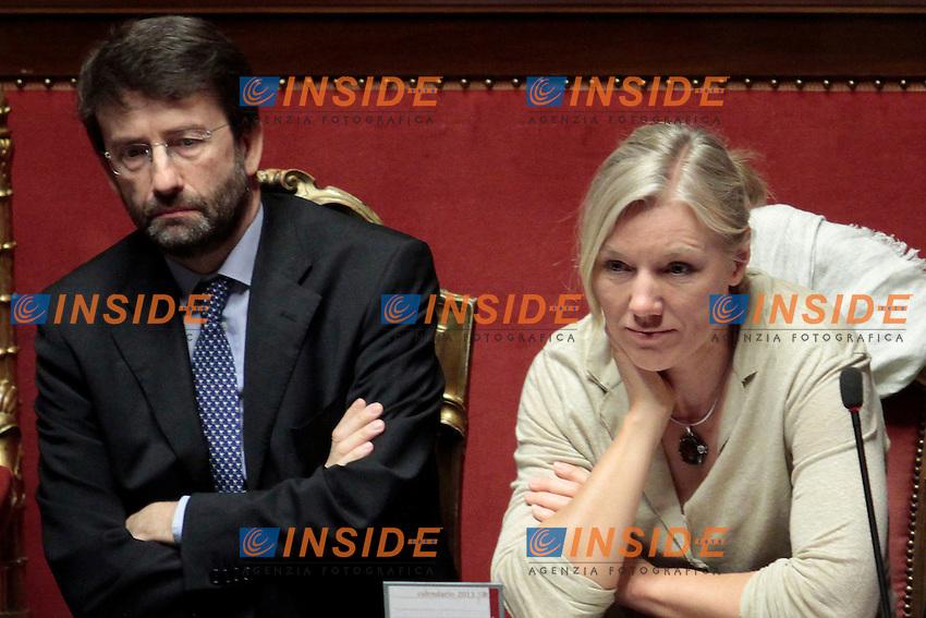 Renato Franceschini e Josefa Idem.Roma 21/05/2013 Senato. Il Premier riferisce al Senato sul consiglio UE..Italian Premier's speech at the Senate about UE..Photo Samantha Zucchi Insidefoto