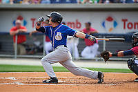Biloxi Shuckers outfielder Nathan Orf (4) at bat during the first game of a double header against the Pensacola Blue Wahoos on April 26, 2015 at Pensacola Bayfront Stadium in Pensacola, Florida.  Biloxi defeated Pensacola 2-1.  (Mike Janes/Four Seam Images)