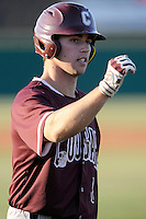 Right fielder Alex Pastorius (7) of the College of Charleston Cougars is congratulated after scoring a run in the fourth inning of a game against the University of South Carolina Upstate Spartans on Tuesday, March 31, 2015, at Cleveland S. Harley Park in Spartanburg, South Carolina. Charleston won, 10-0. (Tom Priddy/Four Seam Images)