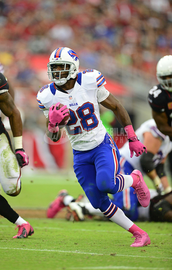 Oct. 14, 2012; Glendale, AZ, USA; Buffalo Bills running back (28) C.J. Spiller runs the ball in the second half against the Arizona Cardinals at University of Phoenix Stadium. The Bills defeated the Cardinals 19-16 in overtime. Mandatory Credit: Mark J. Rebilas-