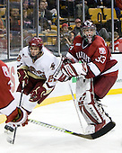 Paul Carey (BC - 22), Kyle Richter (Harvard - 33) - The Boston College Eagles defeated the Harvard University Crimson 6-0 on Monday, February 1, 2010, in the first round of the 2010 Beanpot at the TD Garden in Boston, Massachusetts.