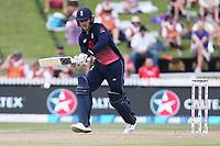 England's Jason Roy works a single. New Zealand Blackcaps v England. One Day International Cricket. Seddon Park, Hamilton, New Zealand on Sunday 25 February 2018.<br /> <br /> Copyright photo: &copy; Bruce Lim / www.photosport.nz