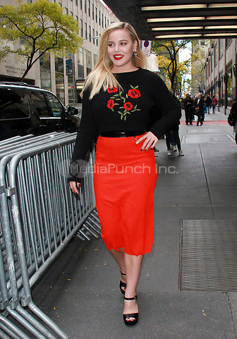 NEW YORK, NY - NOVEMBER 10: Abbie Cornish seen after an appearance on New York Live in New York City on November 10, 2017. Credit: RW/MediaPunch