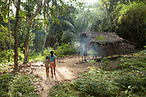 PHILIPPINES, Palawan, Barangay region, Batak children by their home in Kalakwasan Village