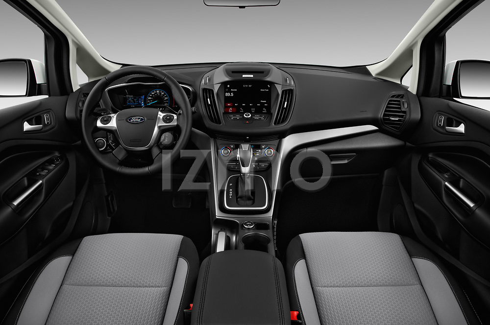 Stock photo of straight dashboard view of a 2018 Ford C-Max PHEV SE 5 Door Mini Van