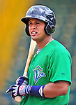 24 July 2010: Vermont Lake Monsters catcher Wilfri Pena awaits his turn in the batting cage prior to a game against the Lowell Spinners at Centennial Field in Burlington, Vermont. The Lake Monsters fell to the Spinners 11-5 in NY Penn League action. Mandatory Credit: Ed Wolfstein Photo